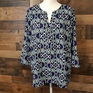 Dana Buchman floral blouse Size XL